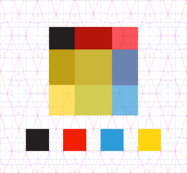 Grid structure behind each of the (10) current patterns in Colors by Number for iPad